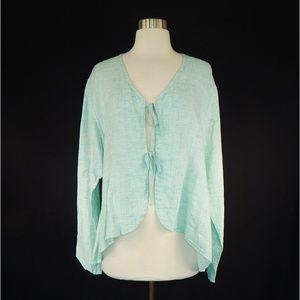FLAX Aqua Linen Tie Front Jacket Topper Size M